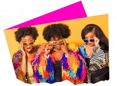 Imani, Octavia, and June, three Black characters from the show BLKS, lower their sunglasses comedically.
