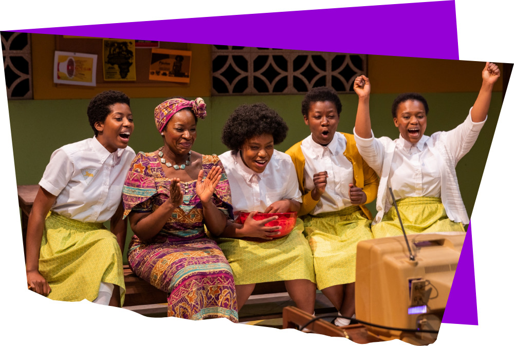 Sabrina K. Victor, Crystin Gilmore, Shanelle Chloe Villegas, Geraldine Bogard, and Tenneh Sillah in School Girls; Or, The African Mean Girls Play (2019). Photo by Maggie Hall Photography.